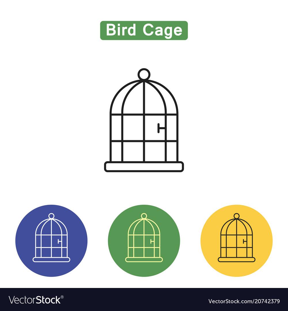 Bird cage line icon vector image