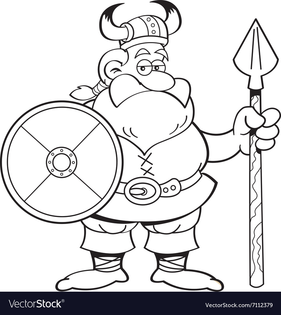 Cartoon viking holding a spear and a shield