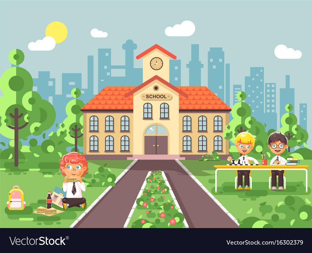 Children characters schoolboys vector image