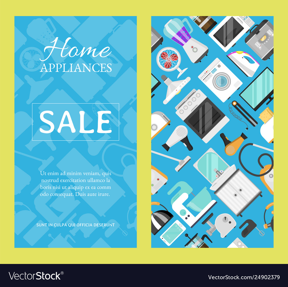 Electronic household appliances set banners
