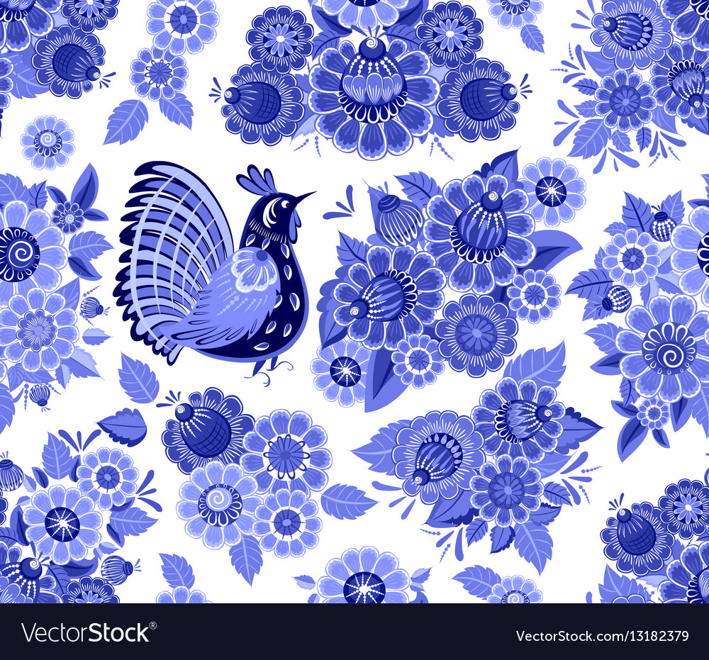 Fancy seamless texture with blue stylized floral