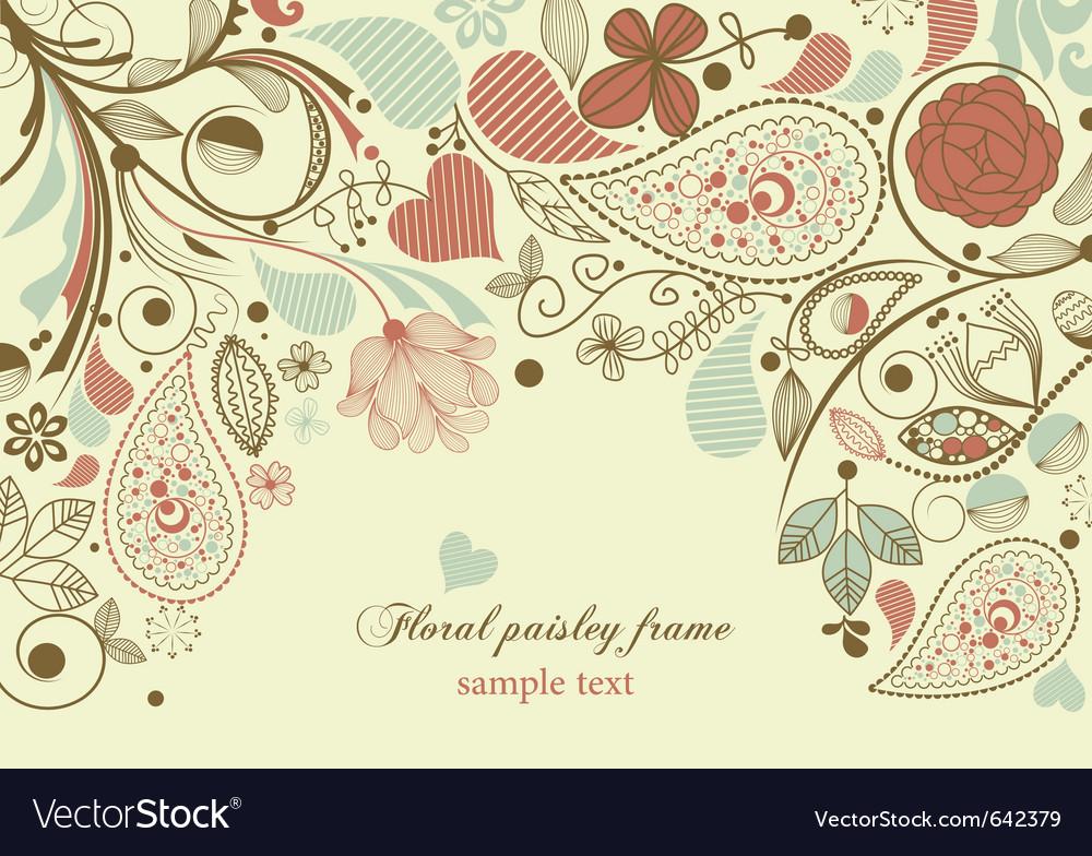 Floral frame paisley motif vector image