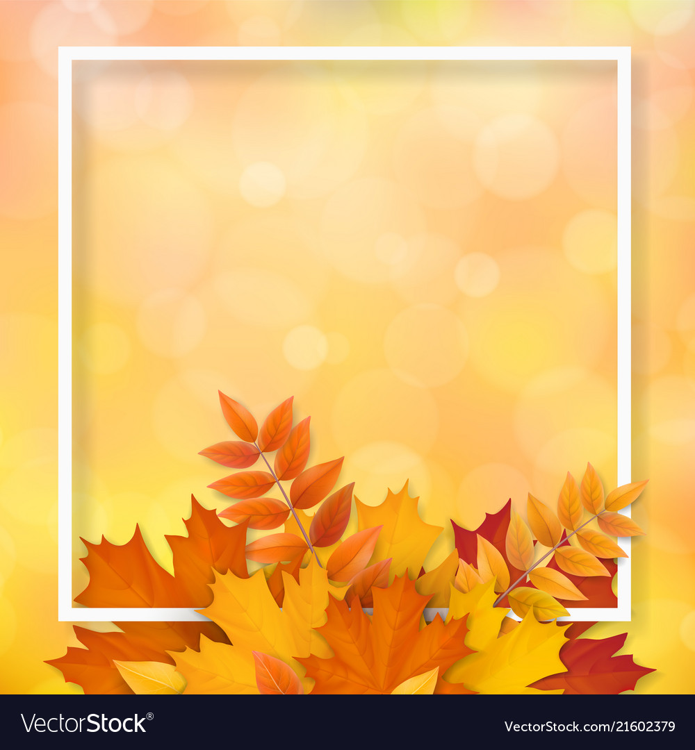 Frame autumn fallen leaves