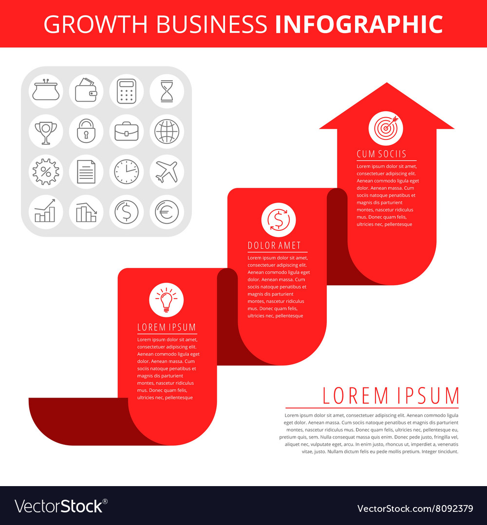 Growth business infographic elements vector image