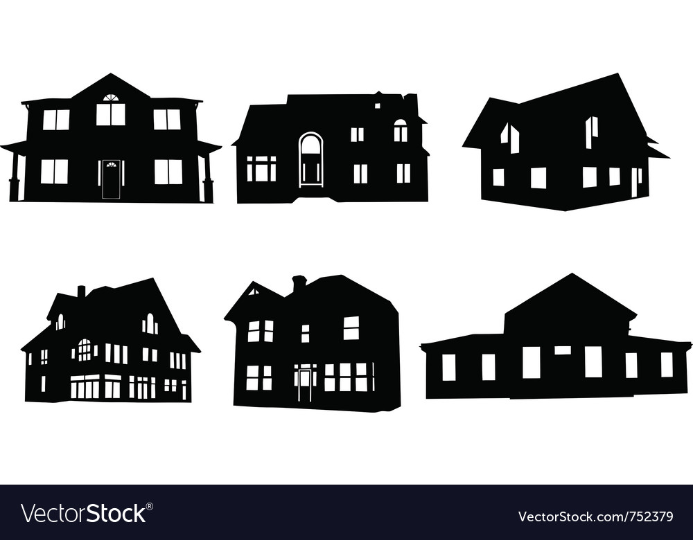 house silhouettes royalty free vector image vectorstock rh vectorstock com house silhouette vector free download white house silhouette vector