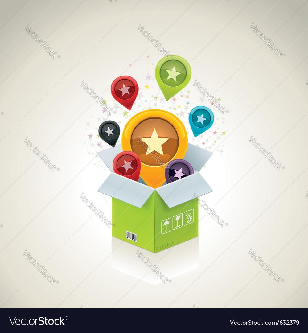 open surprise box royalty free vector image vectorstock