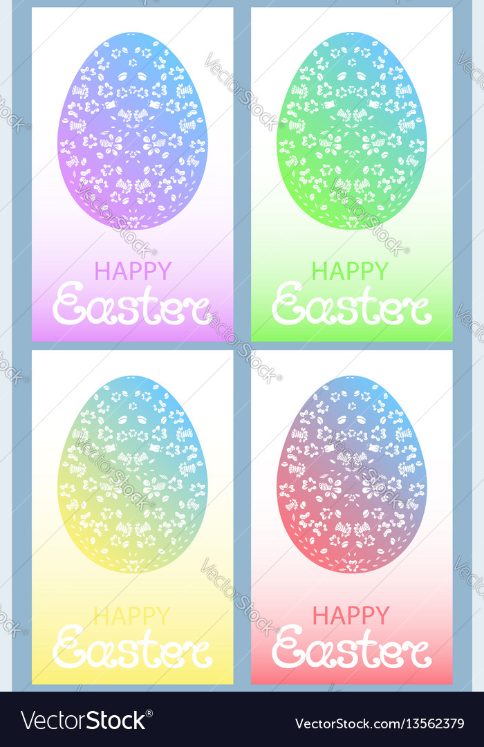 Set of colored easter eggs with floral ornament
