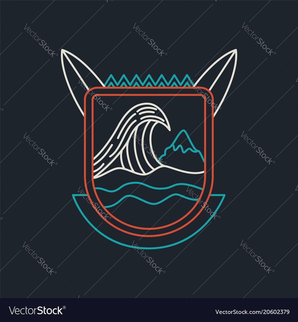 Summer beach surf badge icon in line art