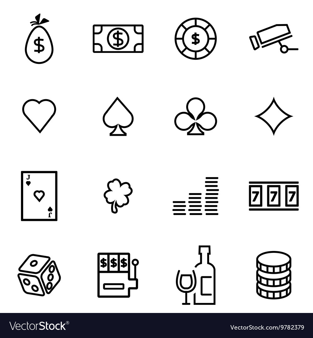 Thin line icons - casino vector image