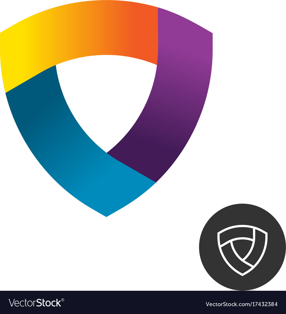 Abstract triangle colorful ribbon shield logo vector image