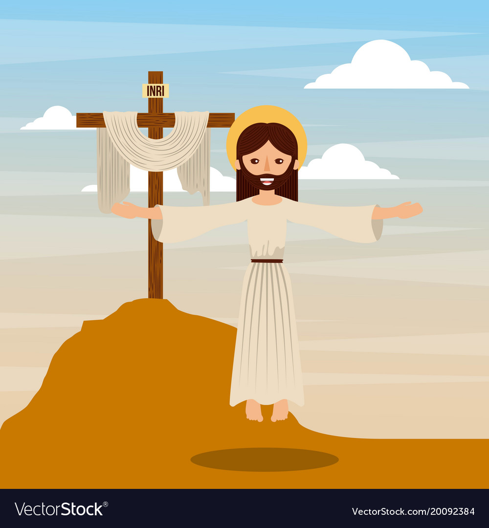 ascension jesus christ cross christianity vector image
