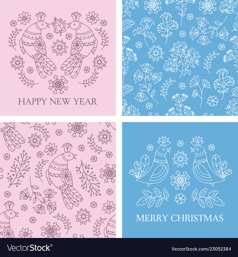 Card pattern set merry christmas