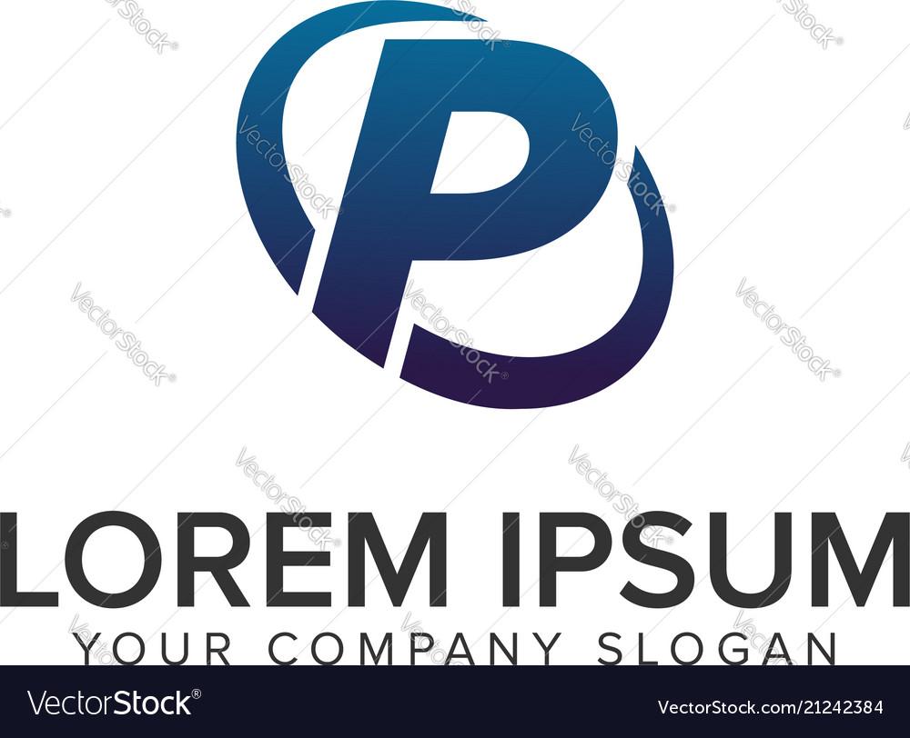 Creative modern letter p logo design concept