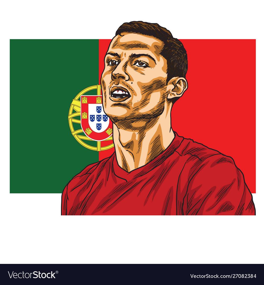 Cristiano Ronaldo Cartoon Portrait Royalty Free Vector Image
