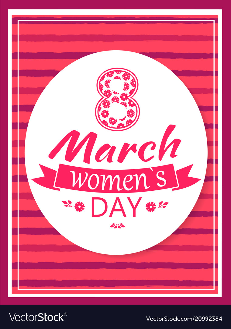 Greeting card design 8 march womens day postcard
