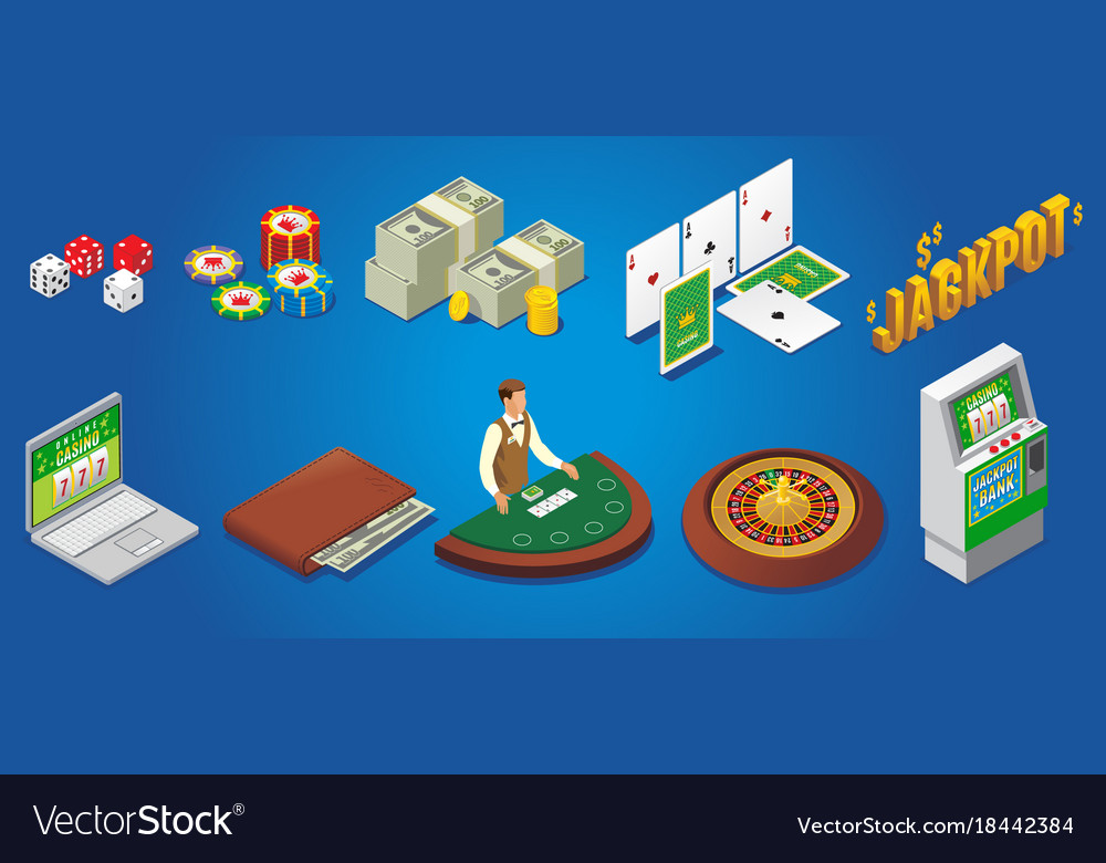 Isometric casino icons set