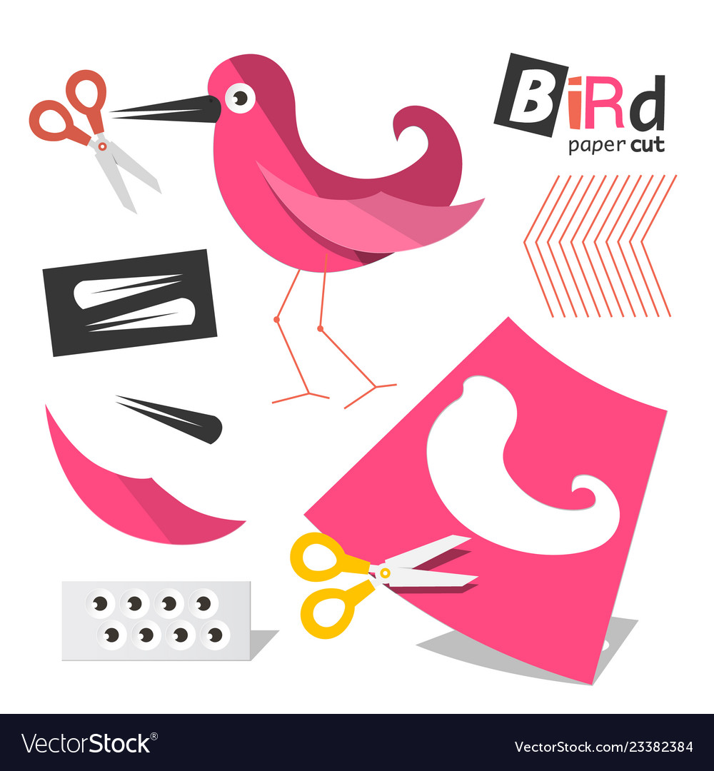 Paper cut pink bird parts with scissors isolated