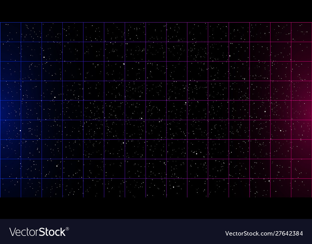 Retrowave Blue Pink Gradient Laser Grid On Starry Vector Image