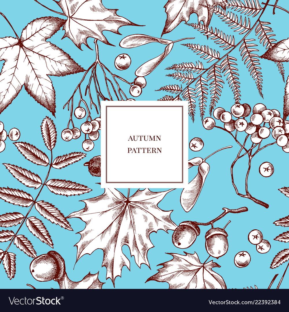 Seamless pattern of autumn pattern hand
