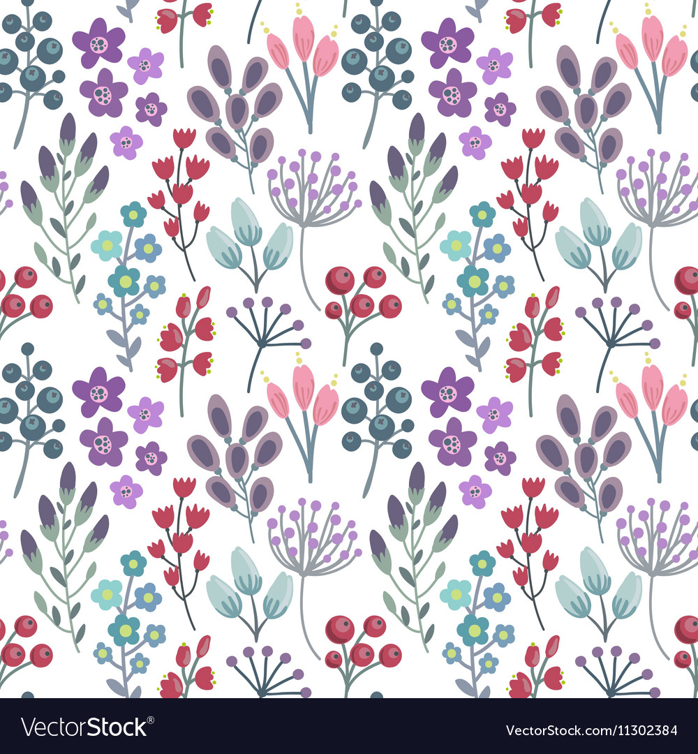 Seamless pattern with flowers leaves branches