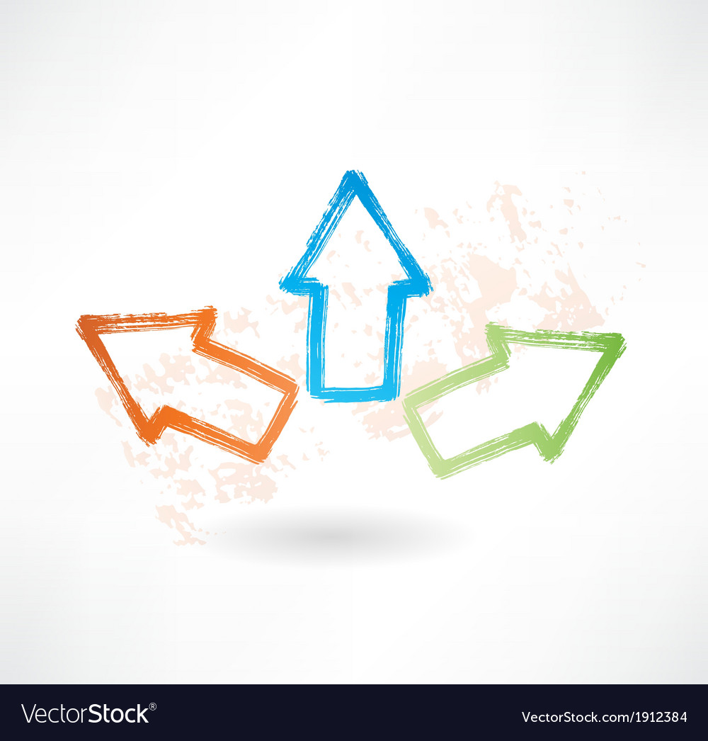 Three brush icon arrows pointing in different vector image