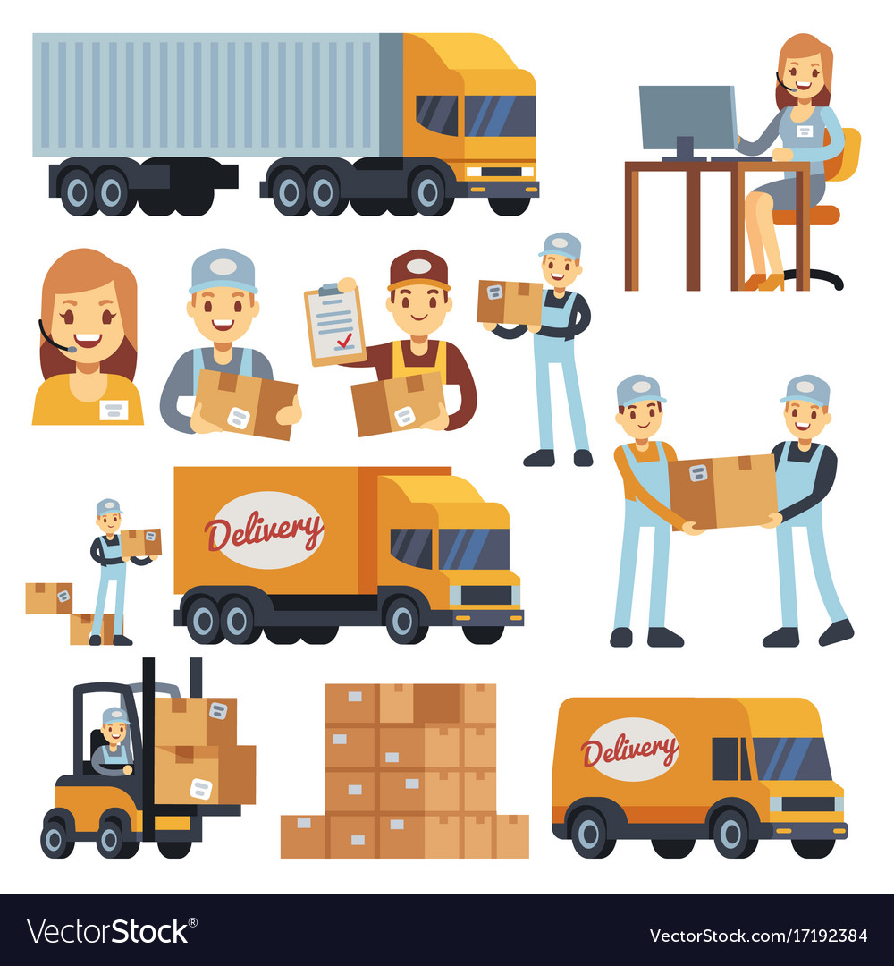 Warehouse workers cartoon characters vector image