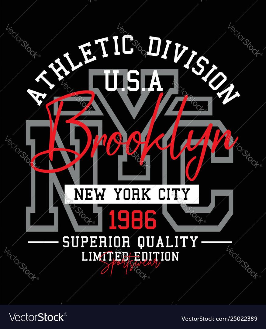 Athletic nyc brooklyn typography design
