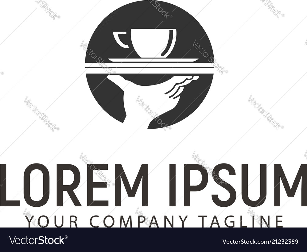 Coffee and hand logo design concept template vector image