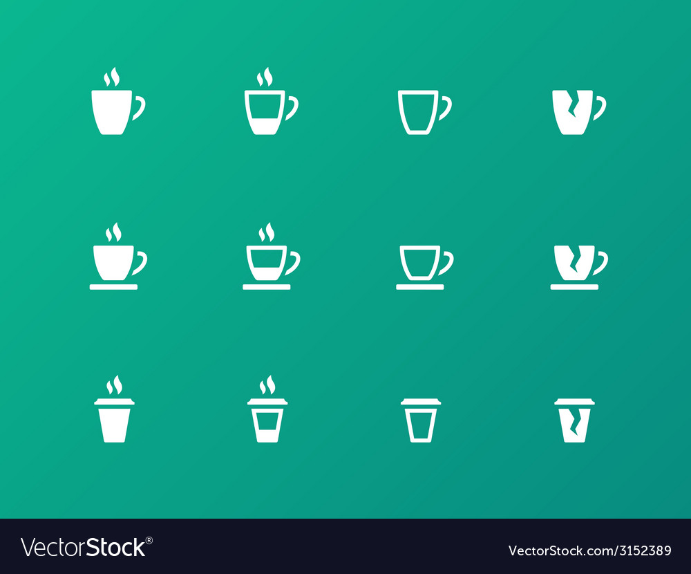 Coffee cup circle icons on green background