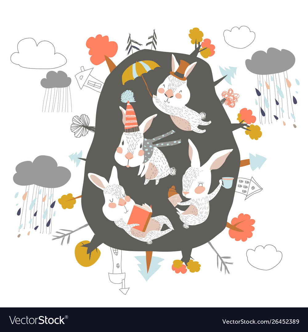 Cute cartoon rabbits in den hello autumn