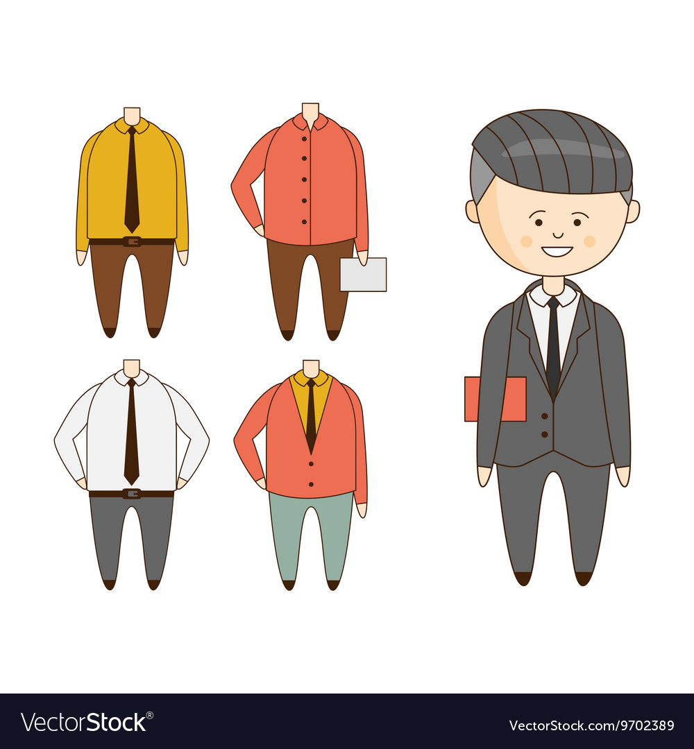 Different Outfits For Character Construction vector image