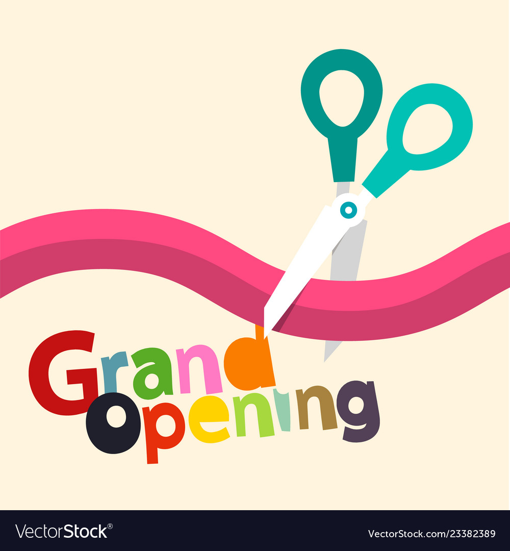 Grand opening design with ribbon and scissors