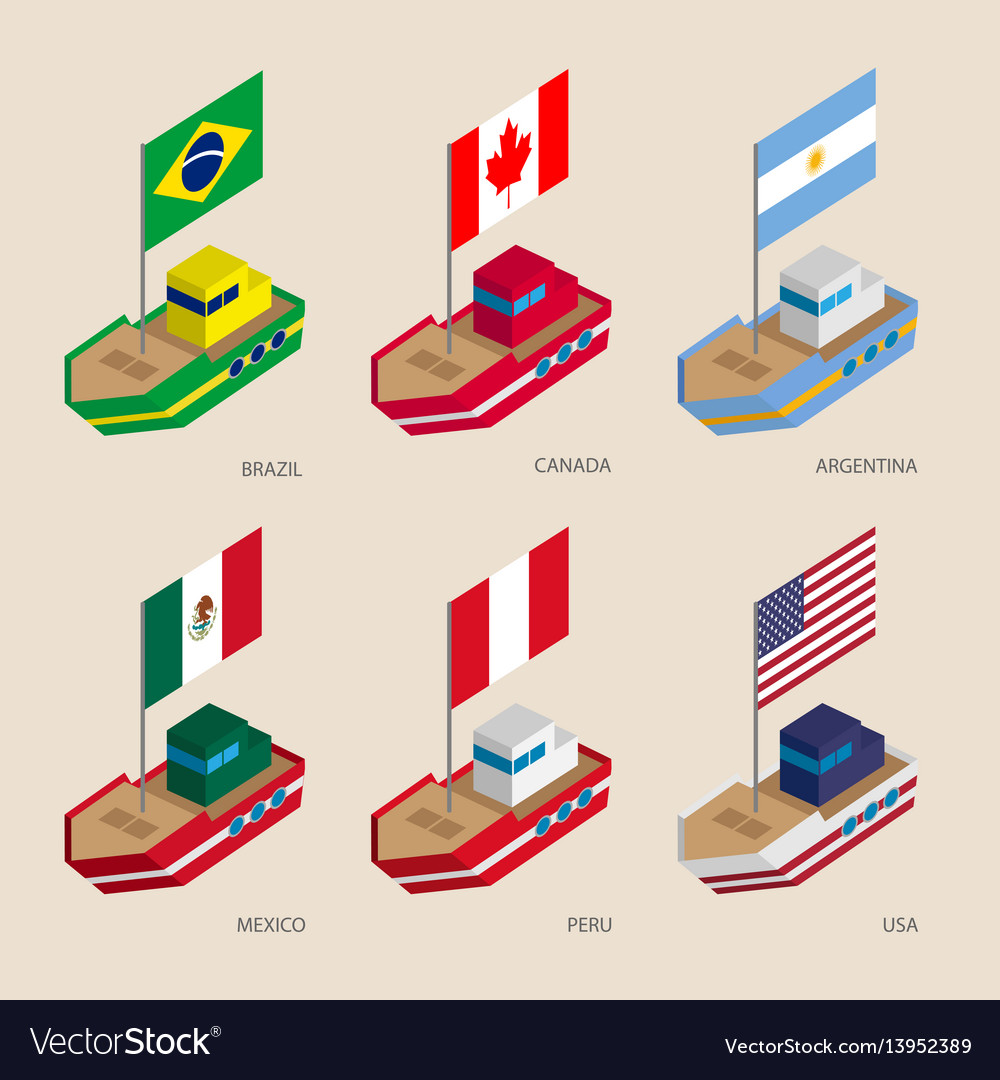 Isometric ships with flags