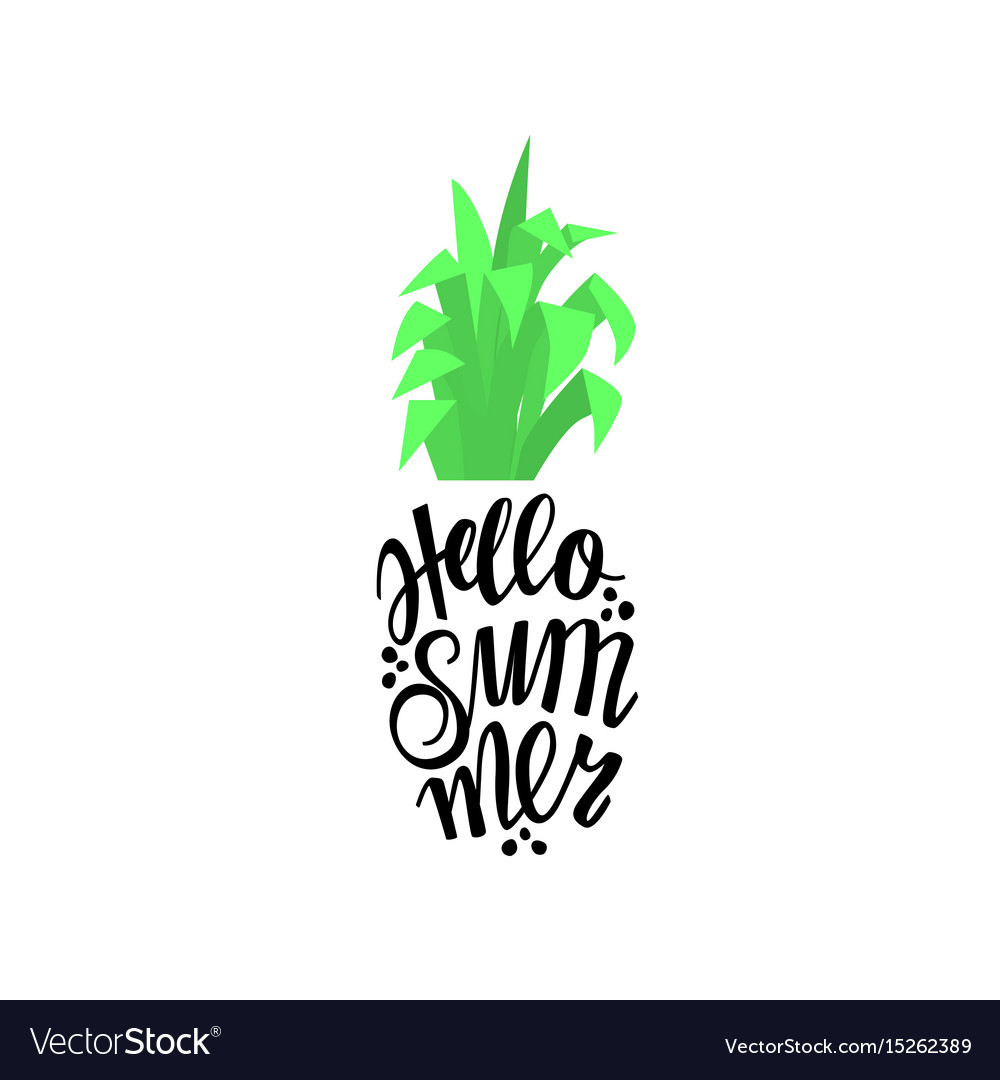 Pineapple in the form of lettering with the word