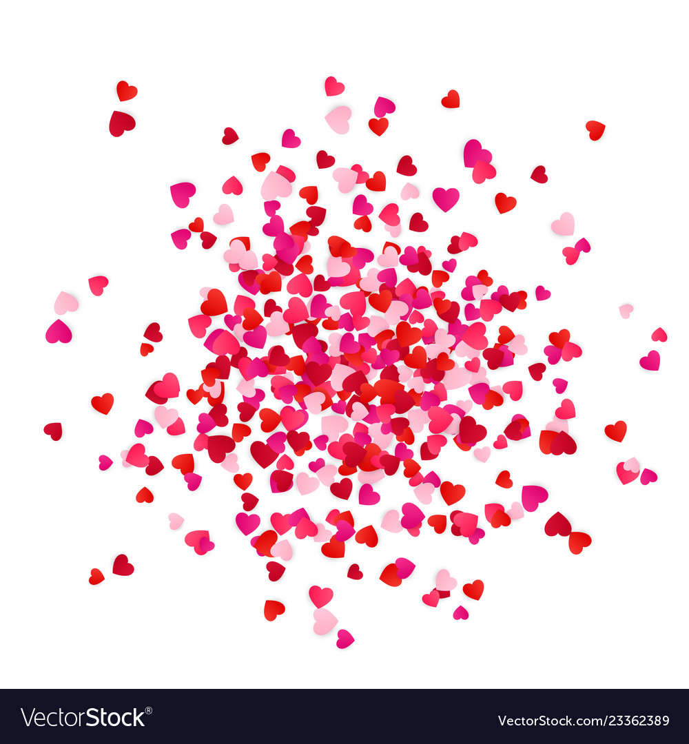 Red and pink scatter paper hearts confetti