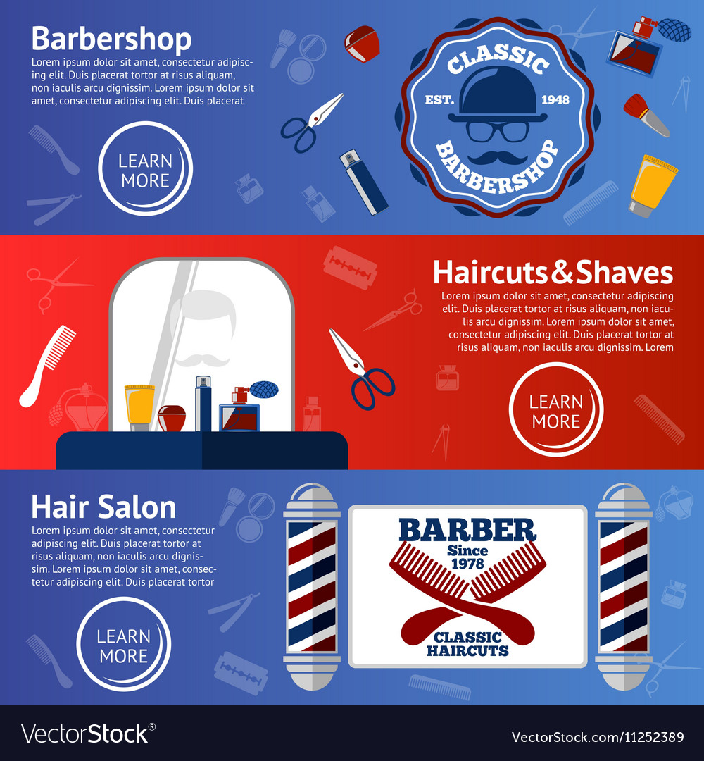 Set of Barber banners with grooming