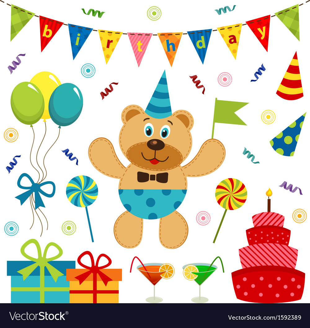 Set of elements birthday vector image