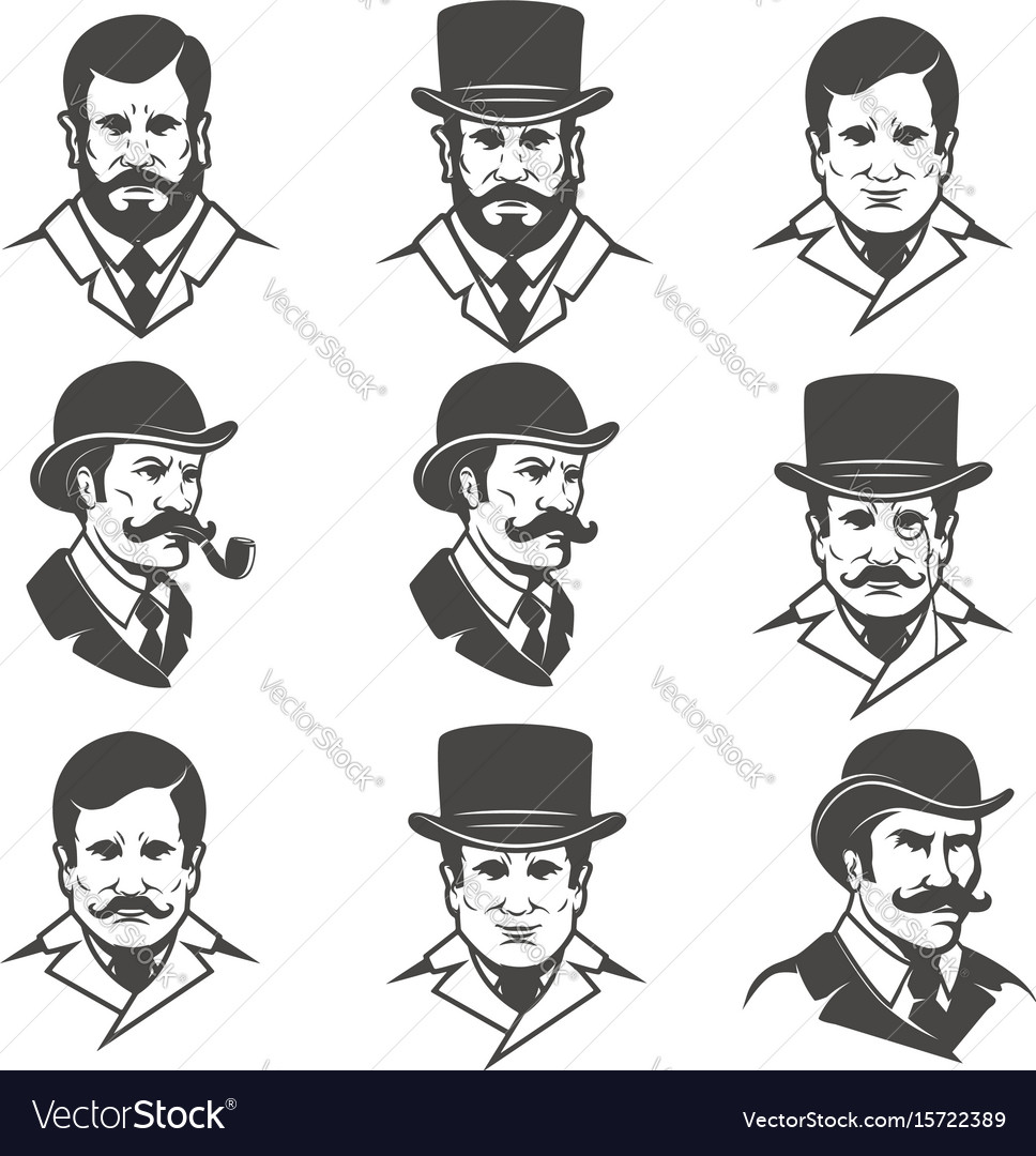 Set of gentlemans heads isolated on white
