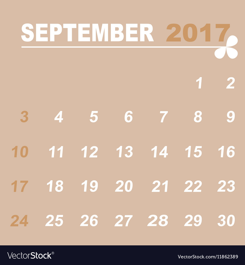 Simple Calendar Template Of September 2017 Vector Image