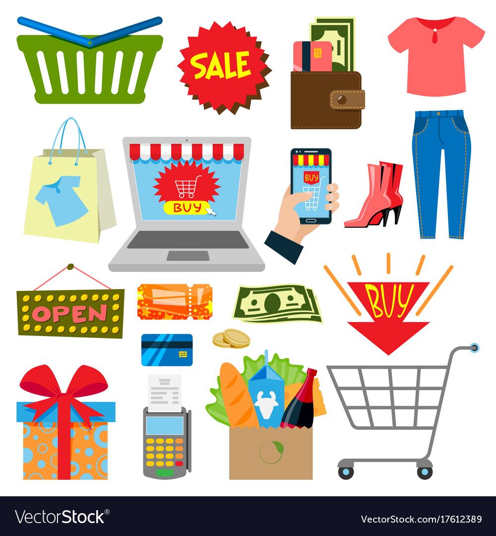 Supermarket web shopping cartoon set food and