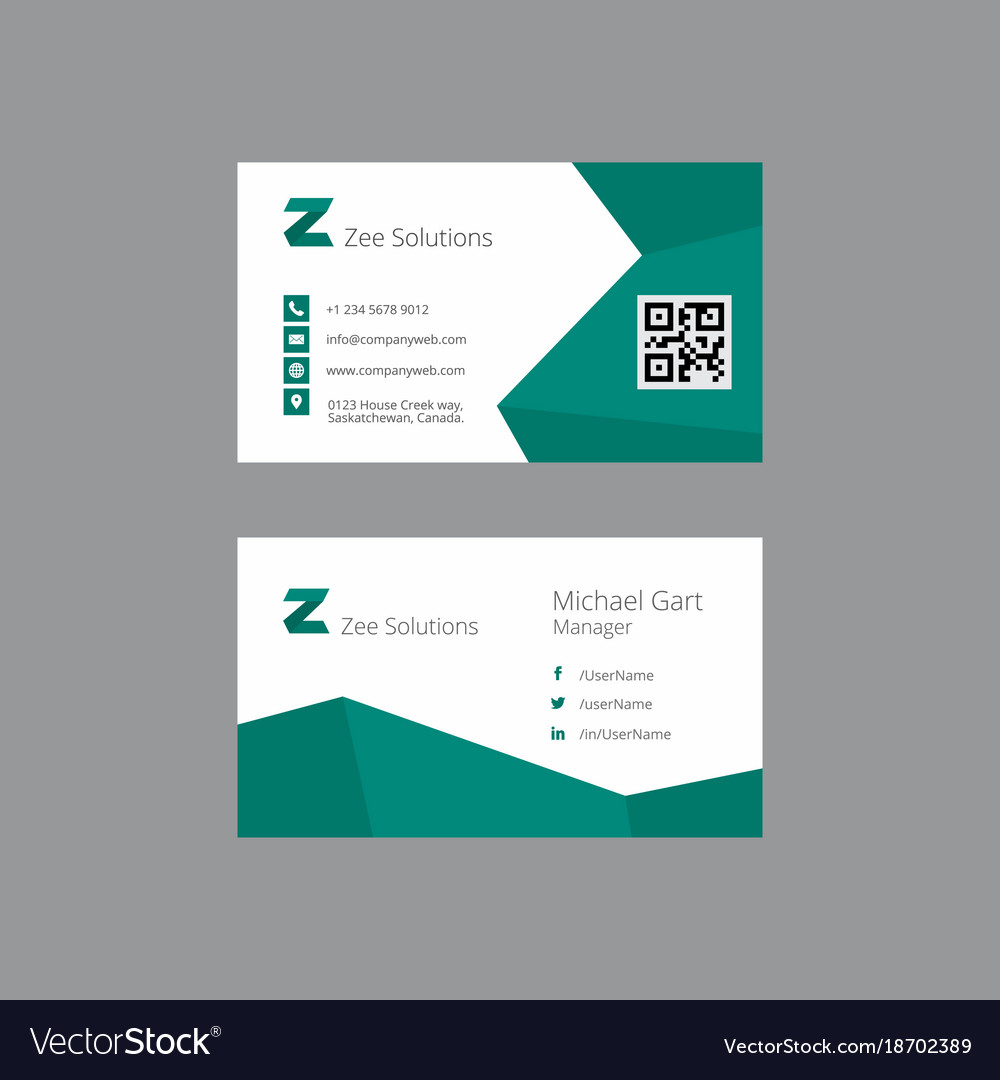 Teal and white business card with zigzag borders vector image colourmoves