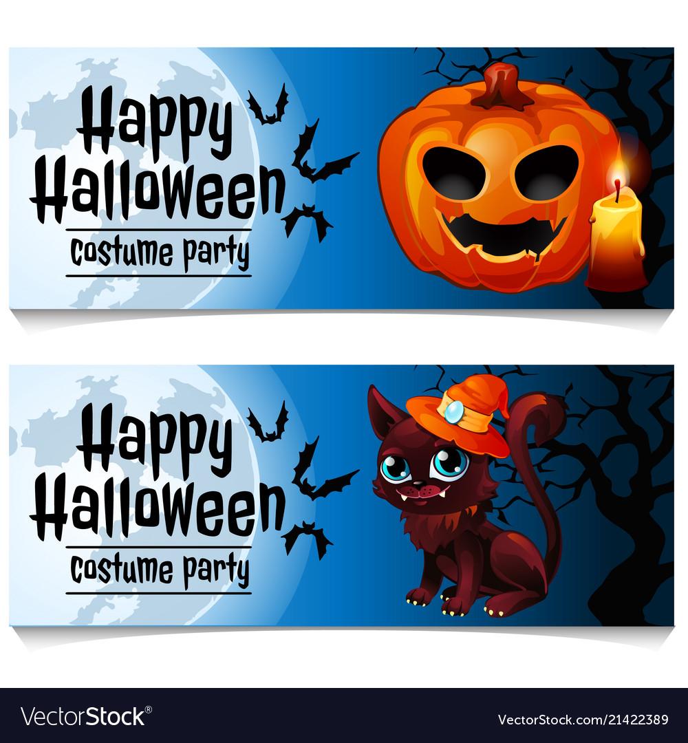 Two horizontal cards on theme halloween