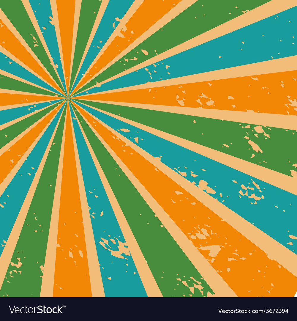Abstract Sunburst Background in Retro Color