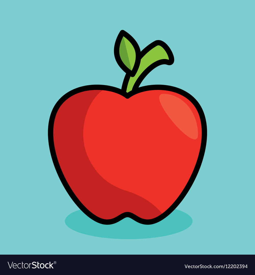 Apple fresh fruit isolated icon vector image
