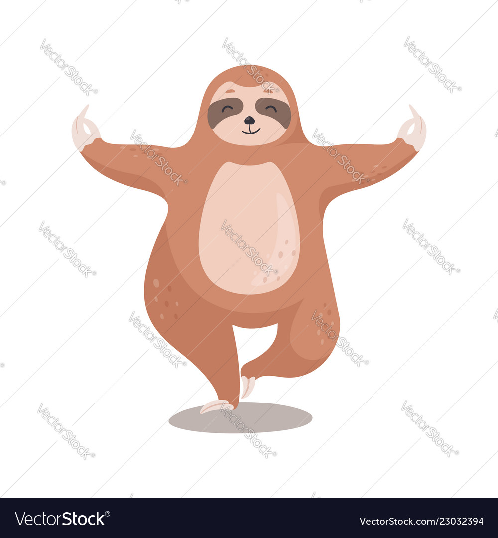 Cute cartoon sloth standing in yoga pose sloth