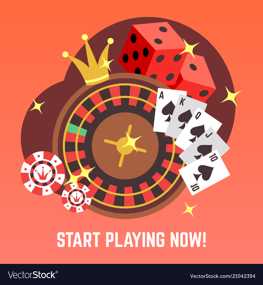 Flat casino gambling concept set with win