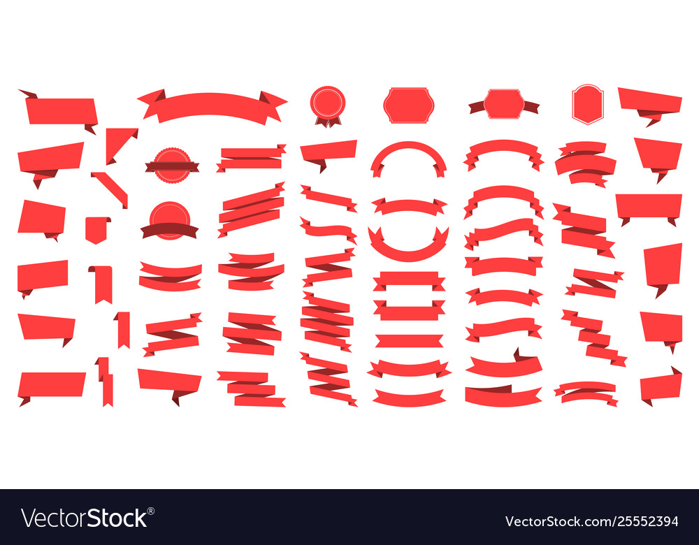 Flat ribbons banners flat isolated on white