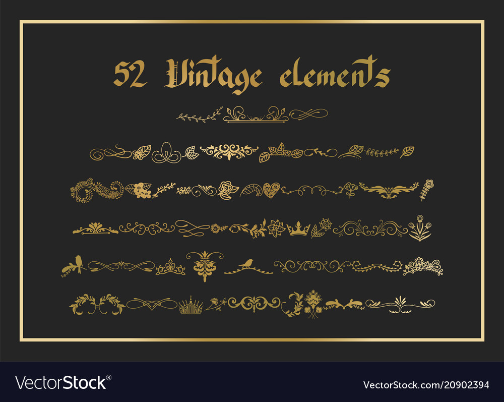 Kit of vintage elements for invitations banners