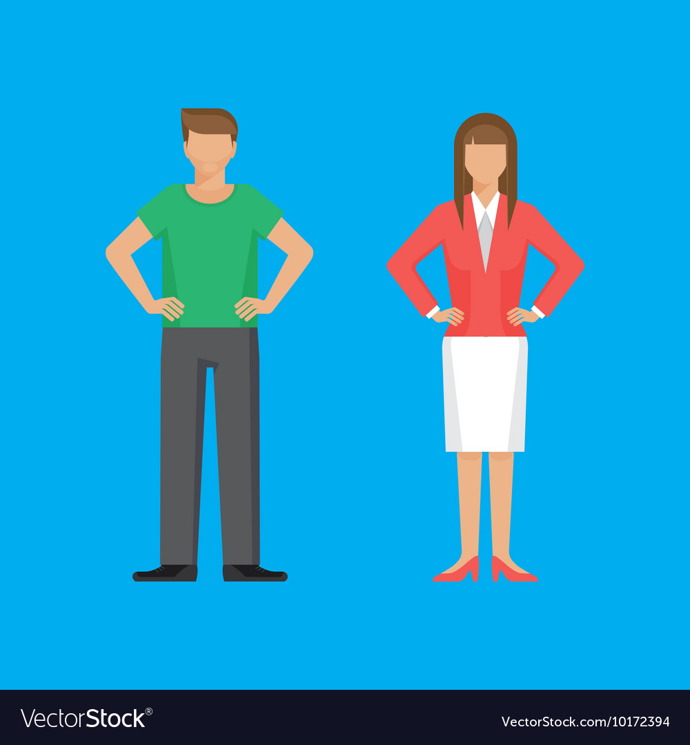 Man and woman are standing holding arms akimbo