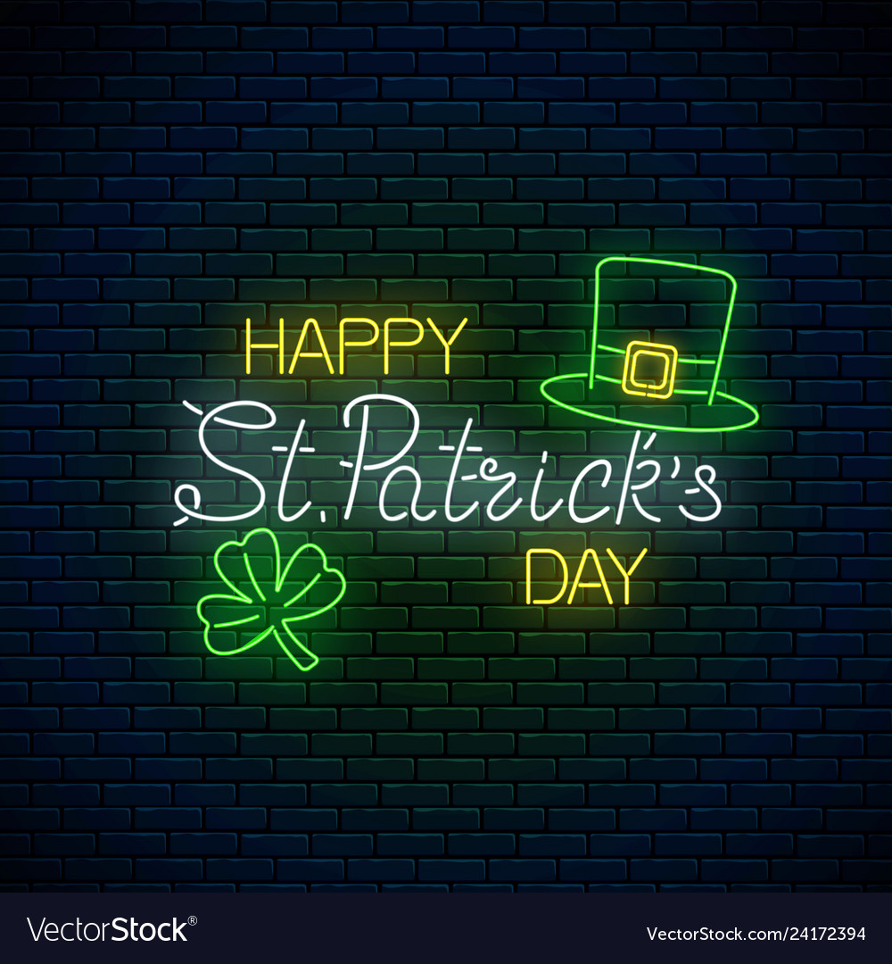 4b4bbcc9 Neon glowing sign of happy st patrick day text Vector Image